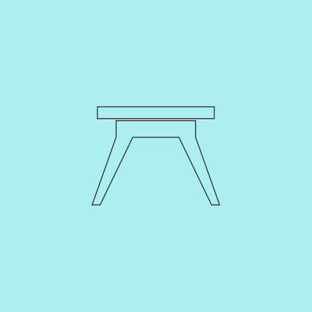 Small table. Simple outline flat vector icon isolated on blue background