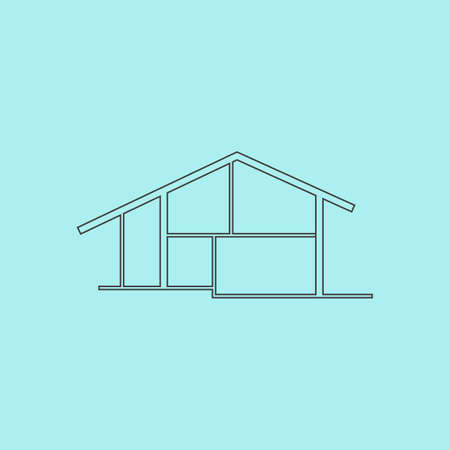residency: Modern house. Simple outline flat vector icon isolated on blue background