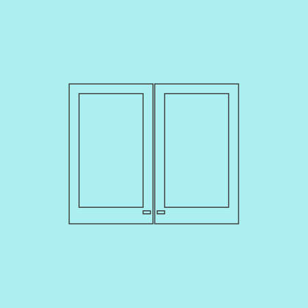 plastic window: Two plastic Window. Simple outline flat vector icon isolated on blue background Illustration