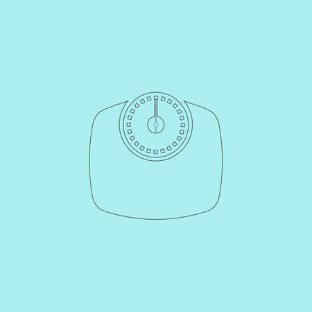 bathroom scale: Bathroom scale. Simple outline flat vector icon isolated on blue background Illustration