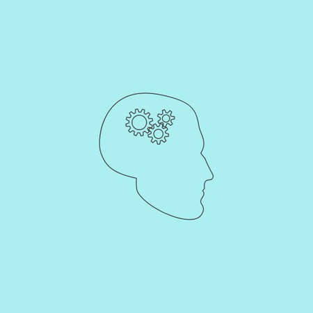head gear: Human head gear hybrid knowledge. Simple outline flat vector icon isolated on blue background