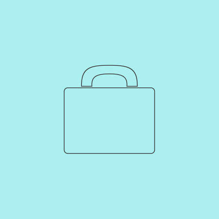 trolley case: Suitcase. Simple outline flat vector icon isolated on blue background