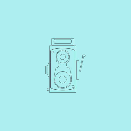 simple background: Professional cinema film camera. Simple outline flat vector icon isolated on blue background
