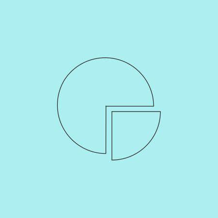 Cirkeldiagram. Eenvoudige schets flat vector pictogram op een blauwe achtergrond Stock Illustratie