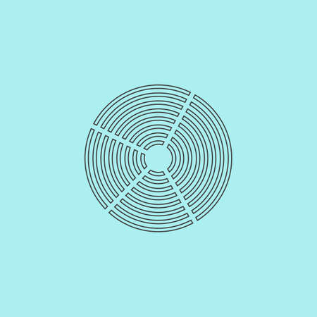 unexplained: Crop Circle. Simple outline flat vector icon isolated on blue background Illustration