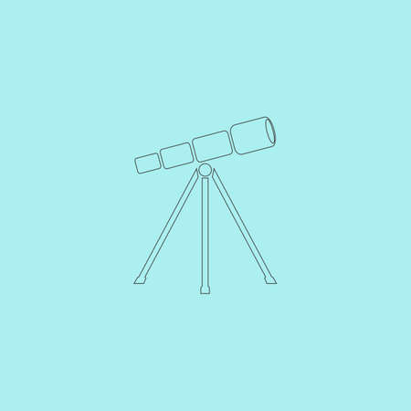 ocular: Telescope. Simple outline flat vector icon isolated on blue background