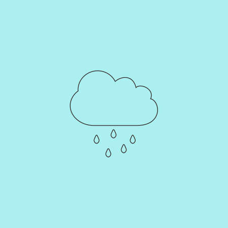windy day: Cloud with rain. Simple outline flat vector icon isolated on blue background