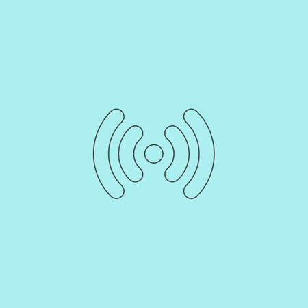 wireless lan: Wi-Fi network. Simple outline flat vector icon isolated on blue background Illustration