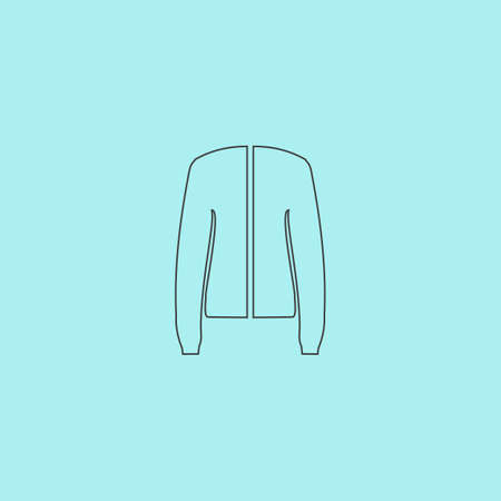 hoody: Jacket. Simple outline flat vector icon isolated on blue background