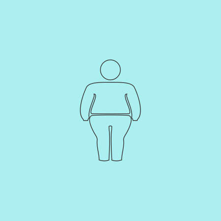 obeseness: Overweight man symbol. Simple outline flat vector icon isolated on blue background