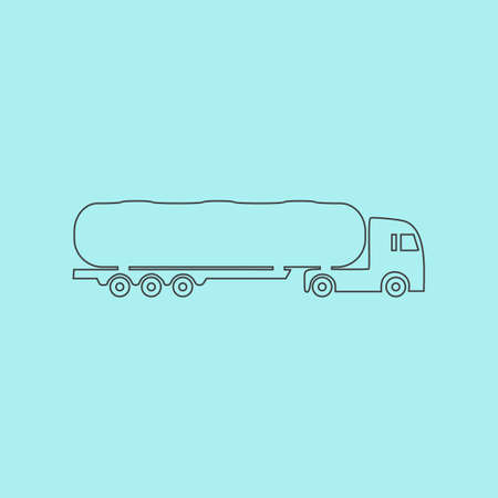 crisper: Tank car. Trailer Simple outline flat vector icon isolated on blue background