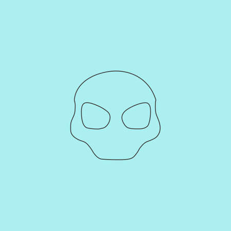 outerspace: Alien Head. Simple outline flat vector icon isolated on blue background