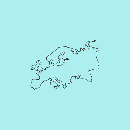 eurasia: Eurasia map. Simple outline flat vector icon isolated on blue background