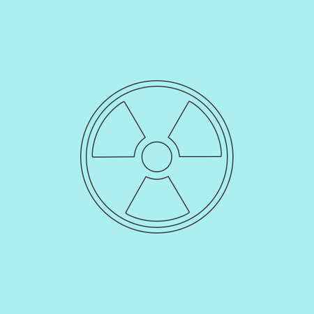 Radiation Simple outline flat vector icon isolated on blue background
