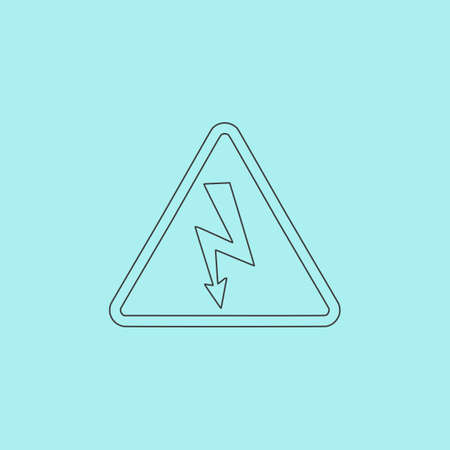 volte: High voltage Simple outline flat vector icon isolated on blue background Illustration