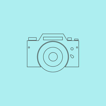Digital photo camera Simple outline flat vector icon isolated on blue background