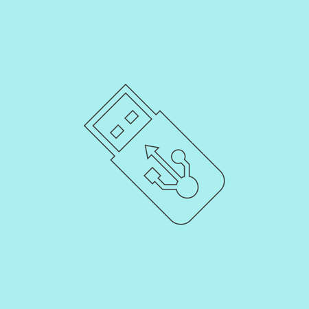 sumbol: Usb flash drive. Simple outline flat vector icon isolated on blue background