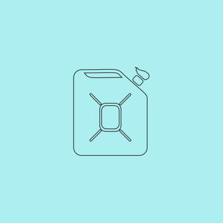 filler: Jerrycan oil. Simple outline flat vector icon isolated on blue background Illustration