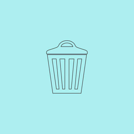 pail tank: Trash can. Simple outline flat vector icon isolated on blue background