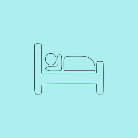 sleeper: Hotel. Simple outline flat vector icon isolated on blue background Illustration