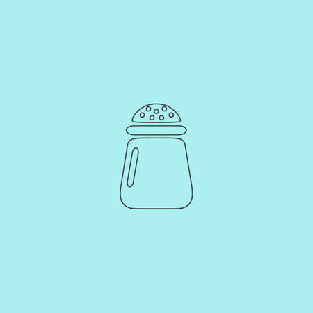 pepper grinder: Salt or pepper - Vector icon isolated. Simple outline flat vector icon isolated on blue background
