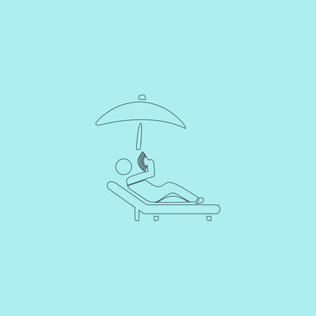 laziness: Relax under an umbrella on a lounger. Simple outline flat vector icon isolated on blue background