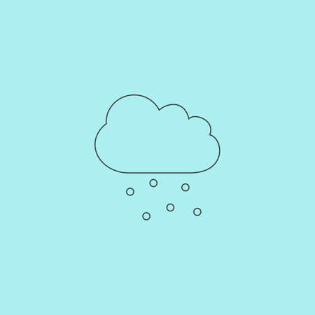hail: Cloud with hail. Simple outline flat vector icon isolated on blue background Illustration