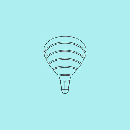simple sky: Sky balloon. Simple outline flat vector icon isolated on blue background