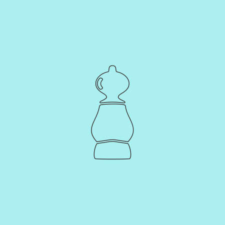 cross match: Chess pawn. Simple outline flat vector icon isolated on blue background