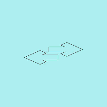double bad: Two side arrow. Simple outline flat vector icon isolated on blue background