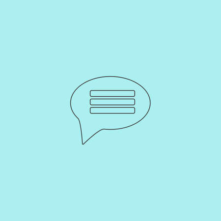 instant messaging: Chat. Simple outline flat vector icon isolated on blue background