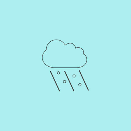 raining: Cloud it is raining and hail. Simple outline flat vector icon isolated on blue background Illustration