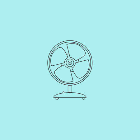 heatwave: Table fan. Simple outline flat vector icon isolated on blue background