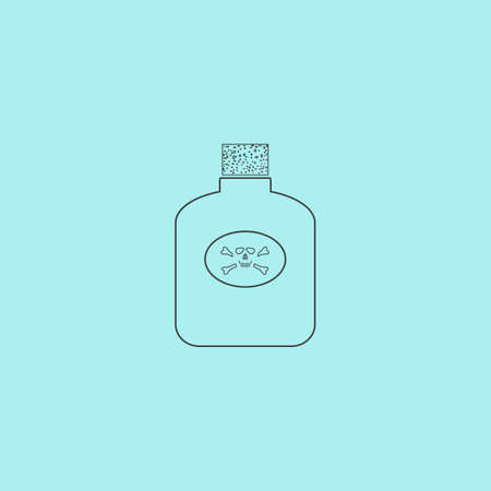 corrosive poison: Bottle of poison. Simple outline flat vector icon isolated on blue background