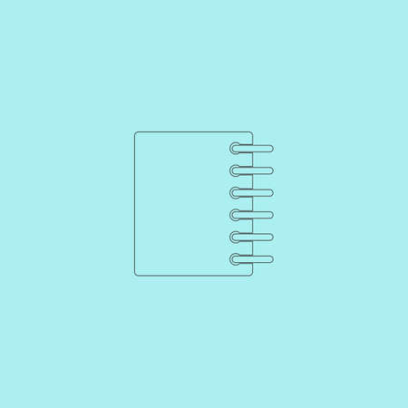 sketchpad: Ring binder calendar notepad. Simple outline flat vector icon isolated on blue background Illustration