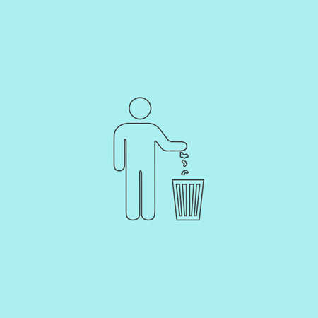 urn: Bin. Simple outline flat vector icon isolated on blue background Illustration