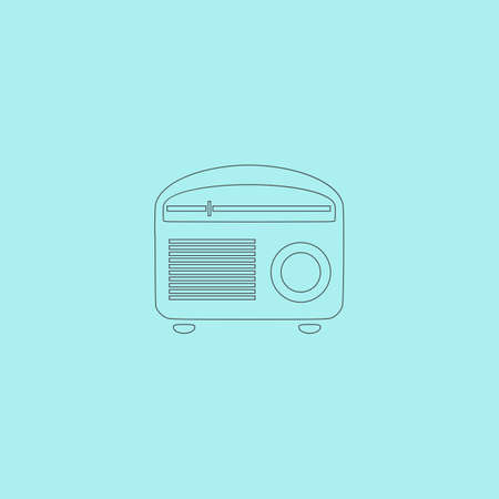 tuner: Retro revival radios tuner. Simple outline flat vector icon isolated on blue background Illustration