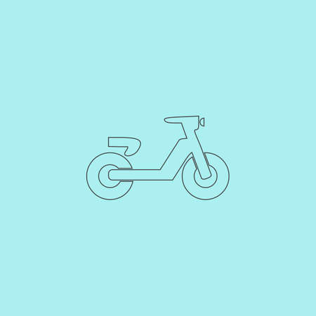 moped: Scooter or moped. Simple outline flat vector icon isolated on blue background