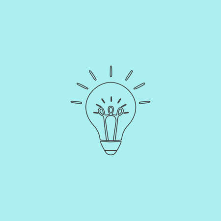 scriibble: Light bulb. Simple outline flat vector icon isolated on blue background