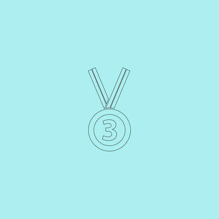 bronze medal: Bronze medal with ribbon. third prize, award accomplishment. 3nd place. Simple outline flat vector icon isolated on blue background