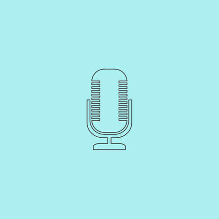 entertaining presentation: Microphone. Simple outline flat vector icon isolated on blue background
