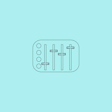 sound mixer: Sound Mixer Console. Simple outline flat vector icon isolated on blue background Vettoriali