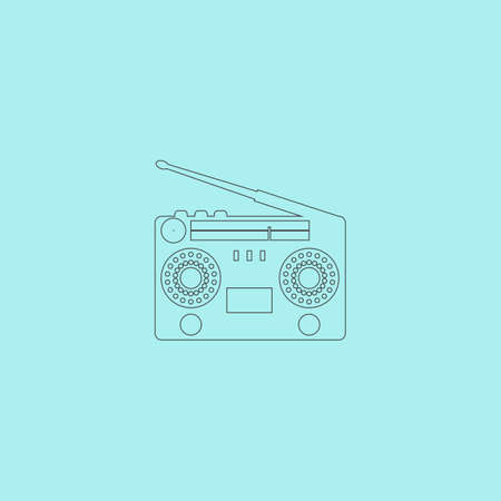 boombox: Classic 80s boombox. Simple outline flat vector icon isolated on blue background