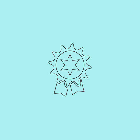 merit: Award. Simple outline flat vector icon isolated on blue background