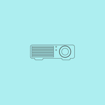 taught: Projector. Simple outline flat vector icon isolated on blue background