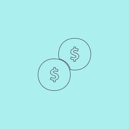 monet: Dollars money coin. Simple outline flat vector icon isolated on blue background