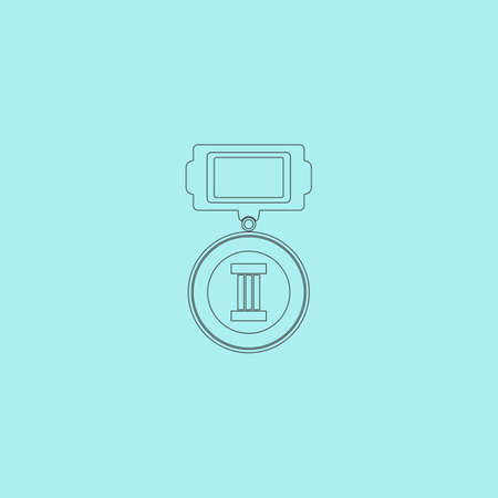 orden: Medals 3 places. Simple outline flat vector icon isolated on blue background