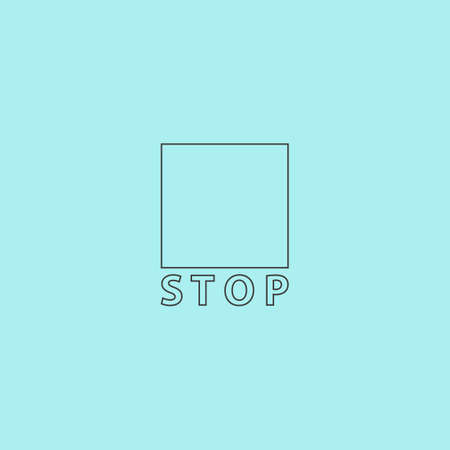 fader: Stop button. Simple outline flat vector icon isolated on blue background Illustration
