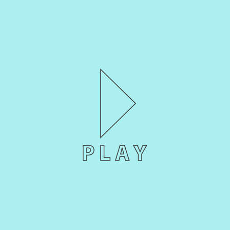 off the record: Play button. Simple outline flat vector icon isolated on blue background