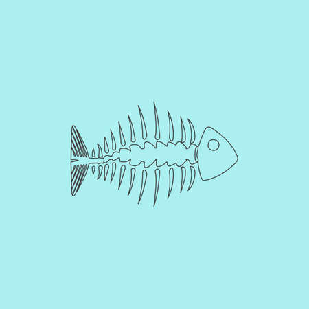 fishbone: Fishbone. Simple outline flat vector icon isolated on blue background